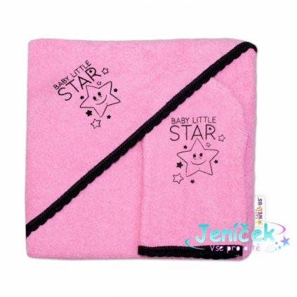 Dětská osuška s kapucí + žínka Baby Little Star, Baby Nellys, roz. 80 x 80 cm - růžová