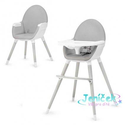 KINDERKRAFT Židlička jídelní FINI Grey/White