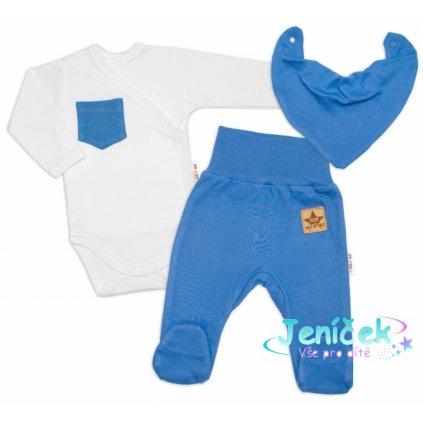 Baby Nellys 3-dílná sada Body dl. rukáv s kapsou, šátek, polodupačky, modrá, bílá