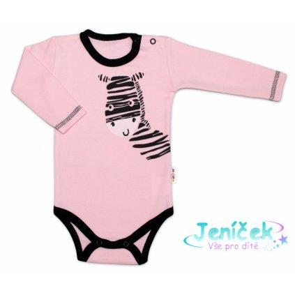 Baby Nellys Body dlouhý rukáv, růžové, Zebra, vel. 86