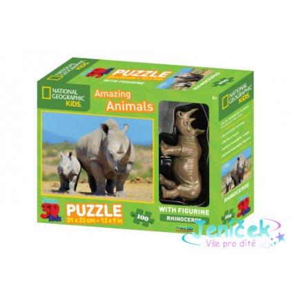 3D Puzzle Nosorožec 100 dílků figurka