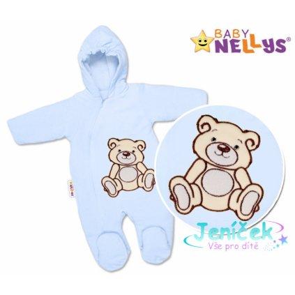 BABY NELLYS Kombinézka/overálek Teddy Bear, velikost: 68 - sv. modrá