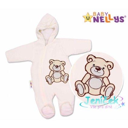 BABY NELLYS Kombinézka/overálek Teddy Bear, velikost: 68 - smetanová