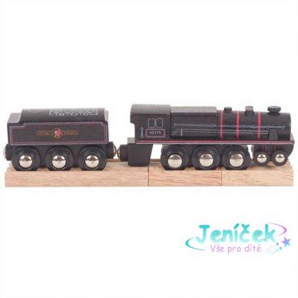 Bigjigs Rail Dřevěná replika lokomotivy Black 5 engine v
