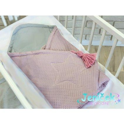 Baby Nellys Luxusní zavinovačka vaflová Star - růžová