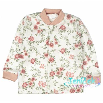 MBaby Novozenecká bavlněná košilka, kabátek Rose - pudrová