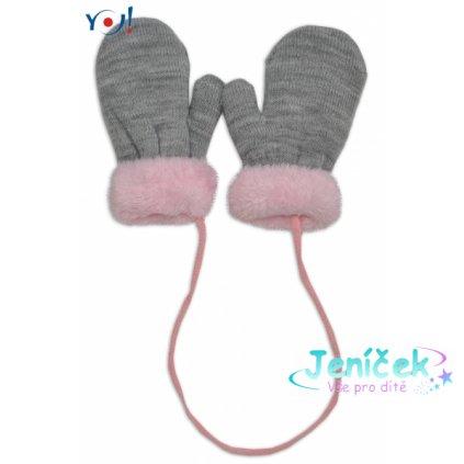 YO ! Zimní kojenecké rukavičky s kožíškem - se šňůrkou YO - šedé/růžový kožíšek