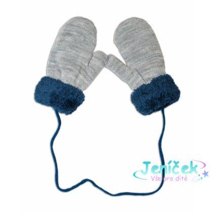 YO ! Zimní kojenecké rukavičky s kožíškem - se šňůrkou YO - šedé/granátový kožíšek