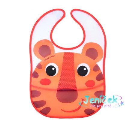Canpol babies Plastový bryndáček s kapsičkou Hello Little - oranžový