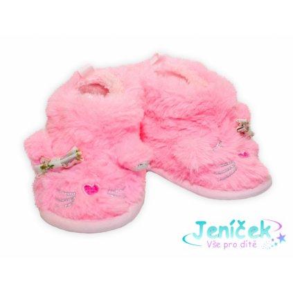 YO ! Zimní chlupáčkové botičky/capáčky Kočička YO! - růžové, 6 - 12m