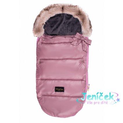 Dětský fusak Baby Nellys STYLE 4 v 1 s kožešinkou a mašličkou, 110 x 50 cm, pudrově růžová