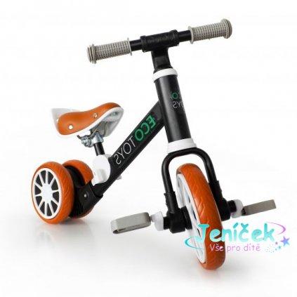 Eco toys Kolo, odrážedlo s pedály - černé