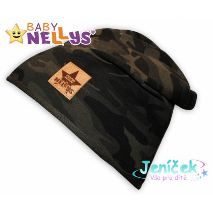 Bavlněná čepička Army Baby Nellys ® - zelená, 48-52