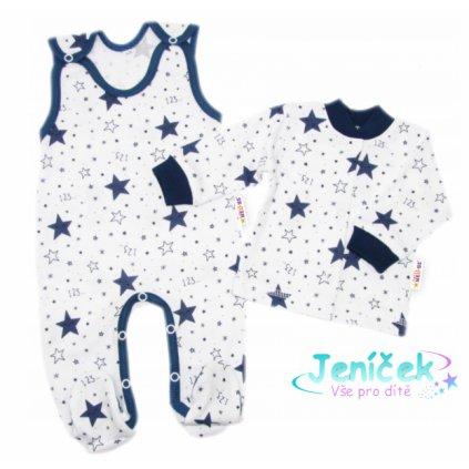 Baby Nellys 2-dílná sada, bavlněné dupačky s košilkou Galaxie, bílá/granát