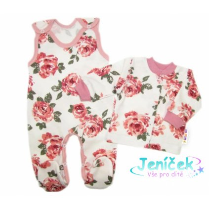 Baby Nellys 2-dílná sada, bavlněné dupačky s košilkou Růže, pudrová/ecru