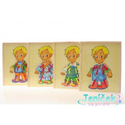 Dřevěné oblékání kluk v