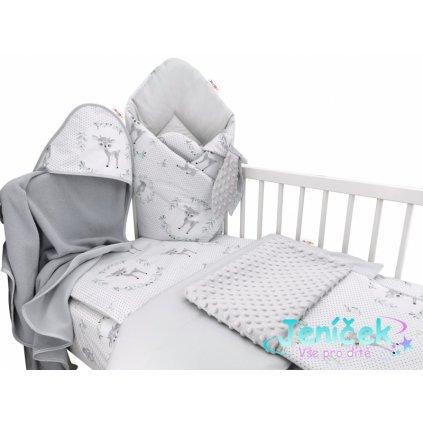 Baby Nellys 6-ti dílná výhod. sada s dárkem pro miminko, 120 x 90 - Koloušek, mátová/šedá