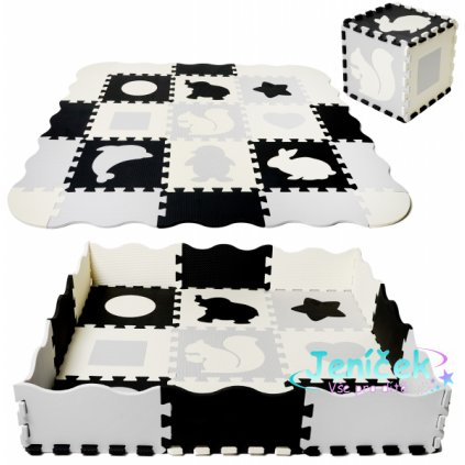 TULIMI Dětské pěnové puzzle 115x115cm, hrací deka, podložka na zem XXL - zvířátka, 34 dílů