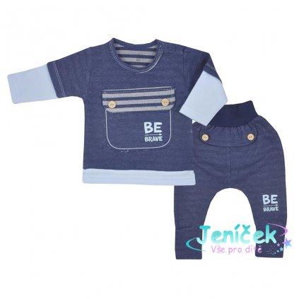 Kojenecké bavlněné tepláčky a tričko Koala BE BRAVE modré