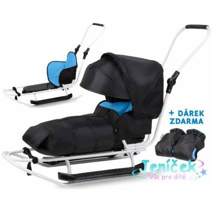 Sáňky s kompletním vybavením + rukávník zdarma - černý,modrý