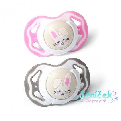 Symetrický dudlík Baby Ono 3-6m 2ks šedý a růžový