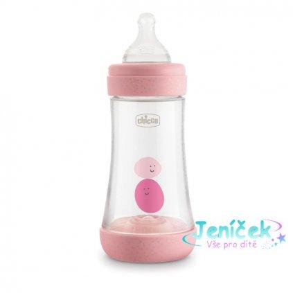 CHICCO Láhev kojenecká Perfect 5 silikon 240 ml dívka