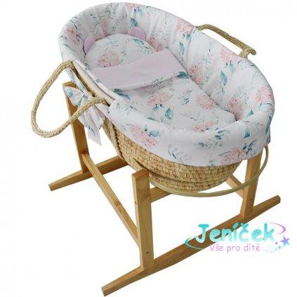 EKO Koš Mojžíšův pro miminko Natural se stojanem matrace + příslušenství Hydrangea