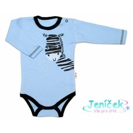 Baby Nellys Body dlouhý rukáv, modré, Zebra