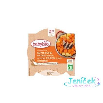 BABYBIO Menu sladké brambory s masem z perličky a sušenými švestkami (260 g)