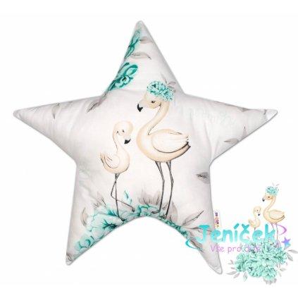 Baby Nellys Bavlněný dětský dekorační polštář, Hvězdička, Plameňák - mátový