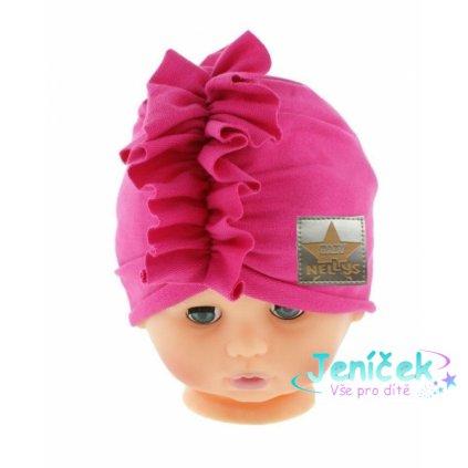 Baby Nellys Jarní/podzimní bavlněná čepice - turban, tm. růžová