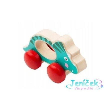 Small Foot Dřevěná hračka do ručičky Dinosaurus - modrý