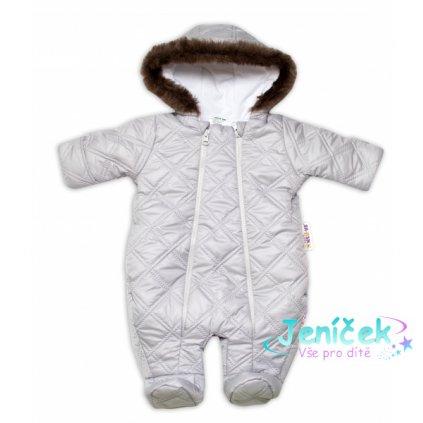 Kombinézka s kapuci a kožešinou Lux Baby Nellys®prošívaná/kostičky - sv. šedá