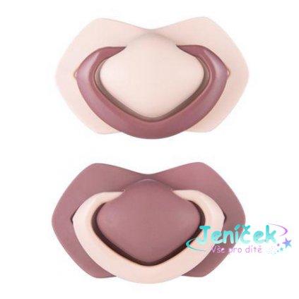Set symetrických silikonových dudlíků 0-6 m Pure Color růžový