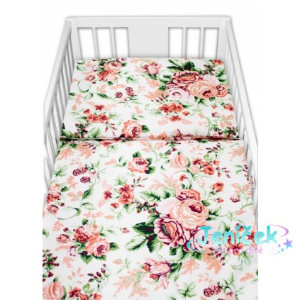 Baby Nellys 2-dílné bavlněné povlečení - Růže, bílá
