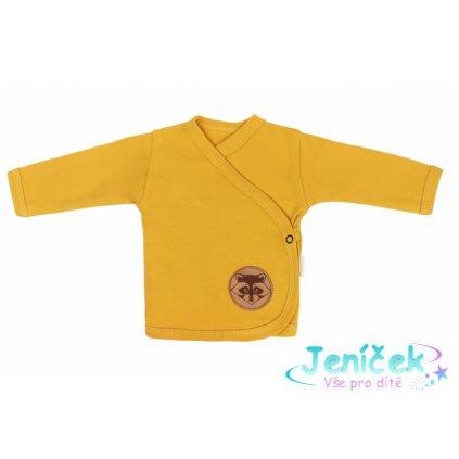 Mamatti Novorozenecká bavlněná košilka zapínání bokem, Mýval - hořčicová