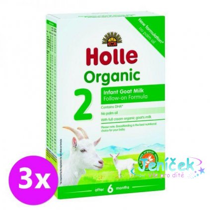 3x HOLLE Bio Dětská mléčná výživa na bázi kozího mléka, pokračovací formule 2