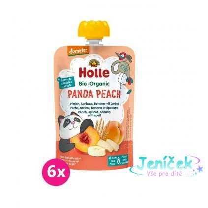 6x HOLLE Panda Peach Bio pyré broskev merunka banán špalda 100 g (8+)