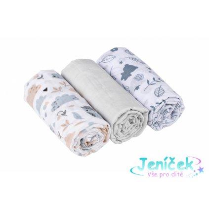 Baby Nellys Mušelínové pleny 3ks Lux - Bunny, 70 x 80 cm, šedá, bílá