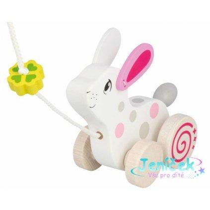 Goki Edukační dřevěná hračka s rolničkou, 15 cm tahací - Králík