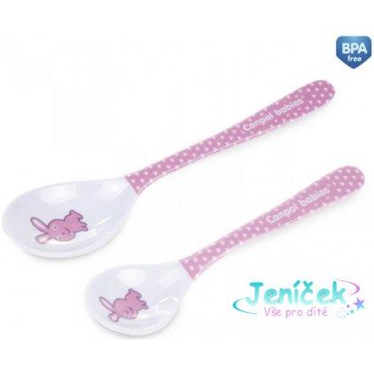 Melaminové lžičky Canpol Babies 2 ks - Králíček růžový
