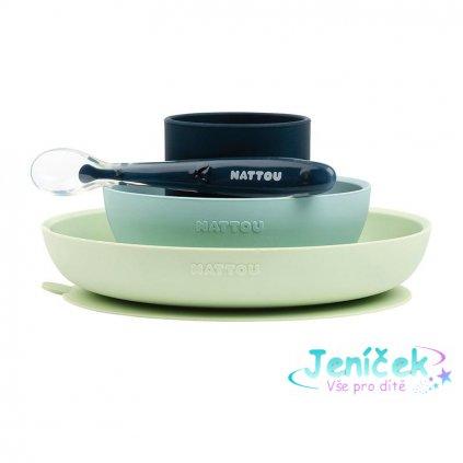 NATTOU Set jídelní silikonový 4 ks zeleno-modrý bez BPA