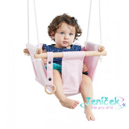 Dvěděti Dětská textilní houpačka 100% bavlna růžová