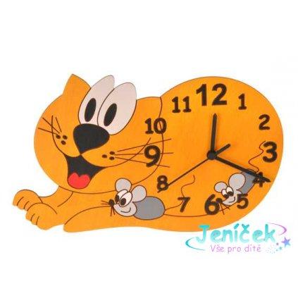 DoDo Dětské dřevěné hodiny kočka