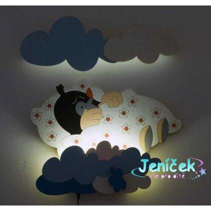 DoDo Dětská LED lampička krtek v peřince