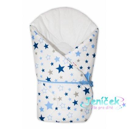 Baby Nellys Zavinovačka na zavazování Hvězdy a hvězdičky - modrá/granát na bílém