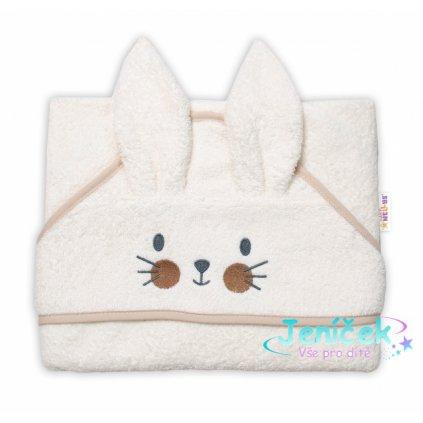 Baby Nellys Froté osuška s kapucí 80 x 80 cm Bunny - smetanová