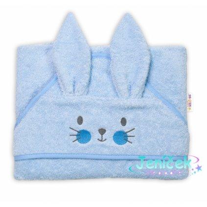 Baby Nellys Froté osuška s kapucí 80 x 80 cm Bunny - modrá