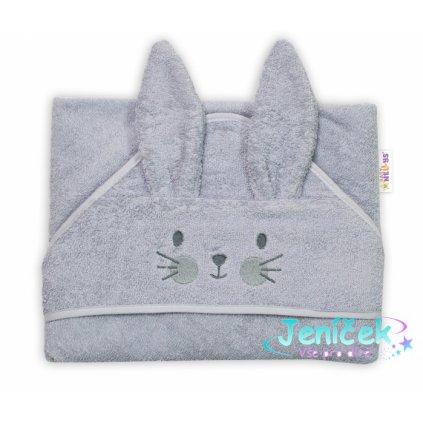 Baby Nellys Froté osuška s kapucí 80 x 80 cm Bunny - šedá
