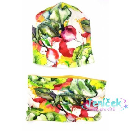 Bexa Jarní, podzimní dvouvrstvá čepice + komínek, Vegetables, vícebarevná, vel. 110